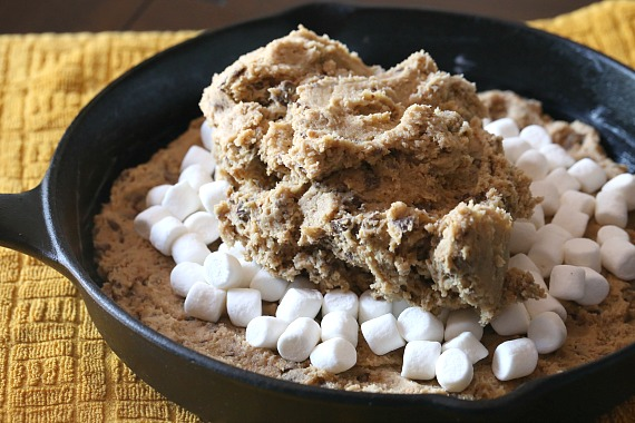 Assempbling the S'mores Skillet Cookie