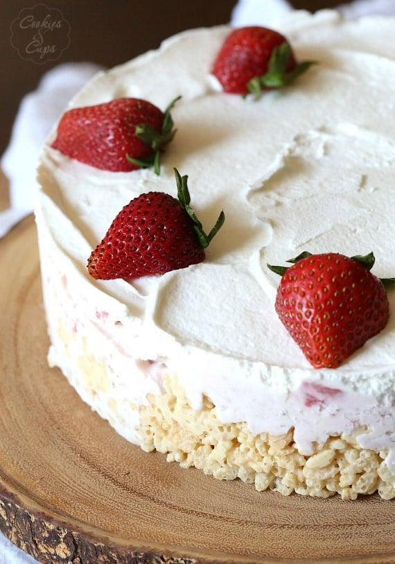 Krispie Treat Strawberry Ice Cream Pie