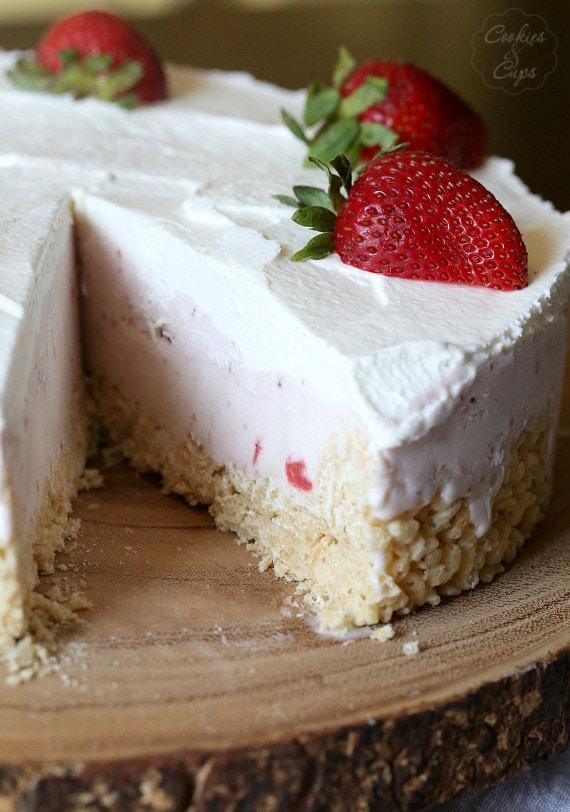 Strawberry Rice Krispie Treat Ice Cream Pie with a slice removed
