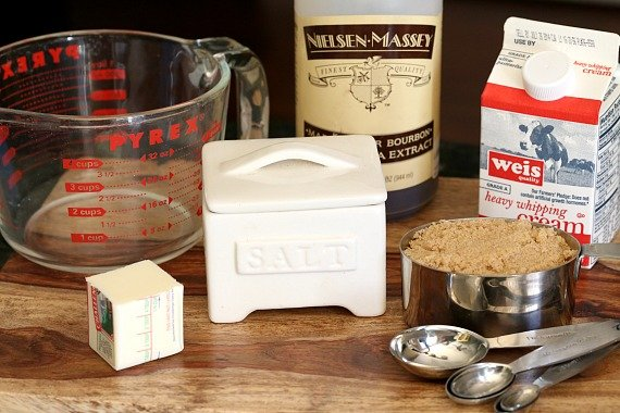 Ingredients for simple microwave salted caramel sauce