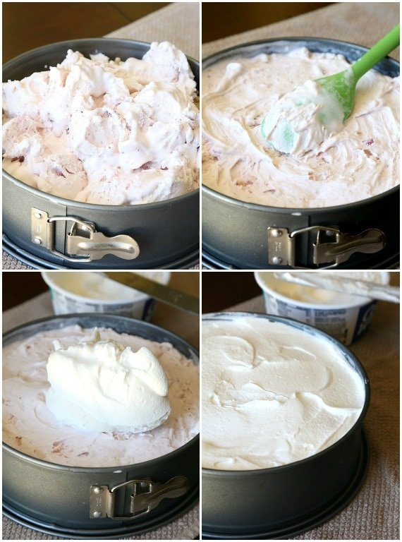 Steps for spreading ice cream over the crust in a springform pan