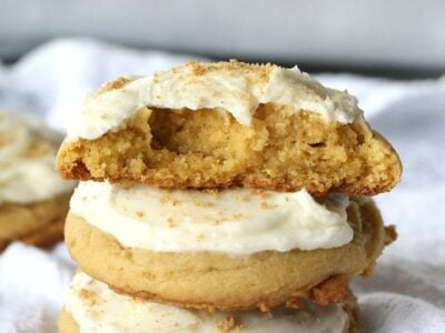 Soft Banana Pie Cookies...a thick, banana pudding cookie topped with creamy vanilla frosting!