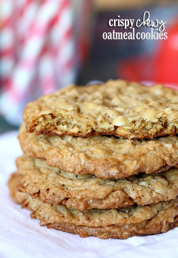 Crispy Chewy Oatmeal Cookies Cookies And Cups
