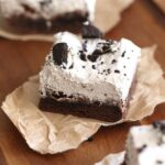 Potluck Oreo Bars ~ These are so dreamy, they start with a cake mix and are topped with a creamy Oreo mousse!