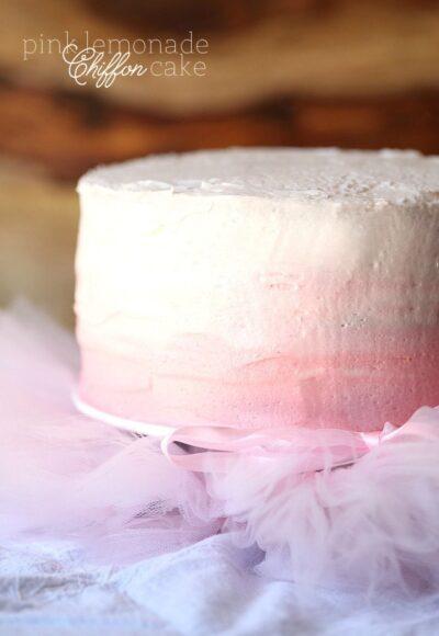 Pink Lemonade Chiffon Cake ~ A super soft cake topped with pink lemonade buttercream!