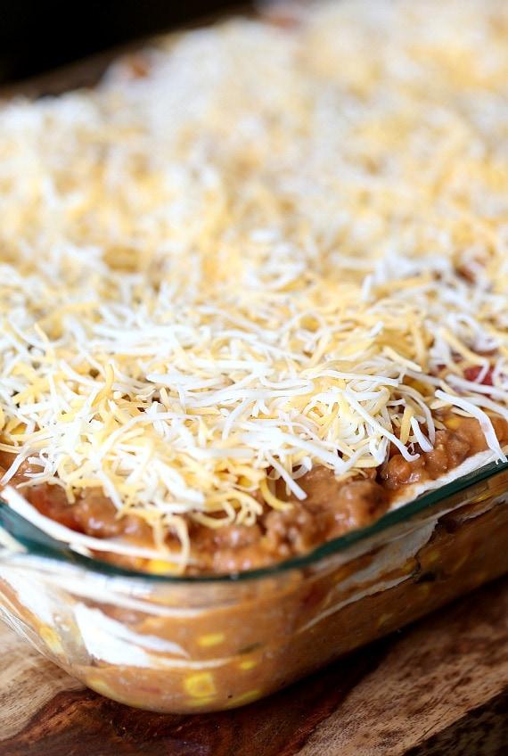 Burrito Lasagna ~ Top layer cheese