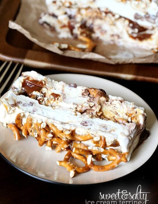 Sweet and Salty Ice Cream Terrine.. yummy Chubby HUbby Ice Cream (or your favorite flavor) with pretzels and caramel! SO pretty and insanely delicious!