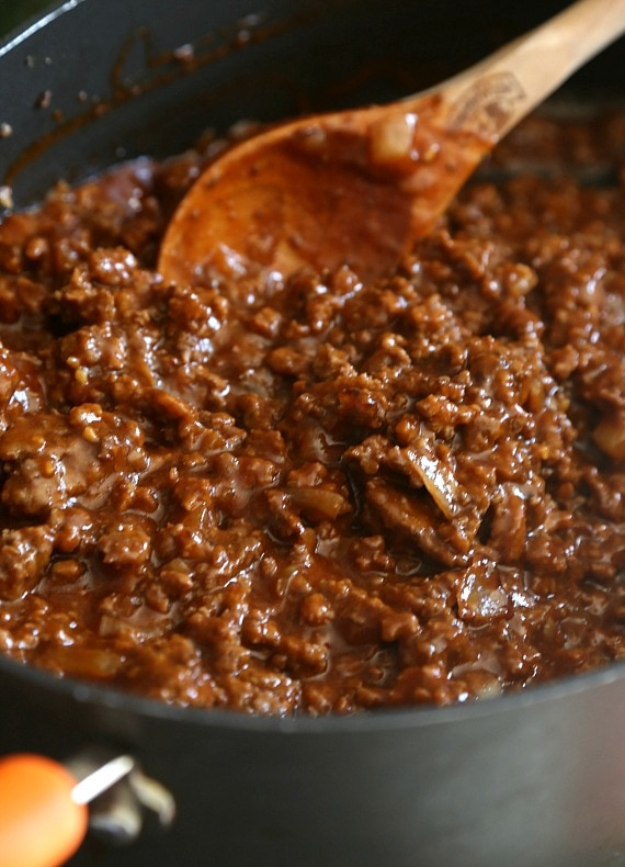 Ground meat with BBQ Sauce in a skillet