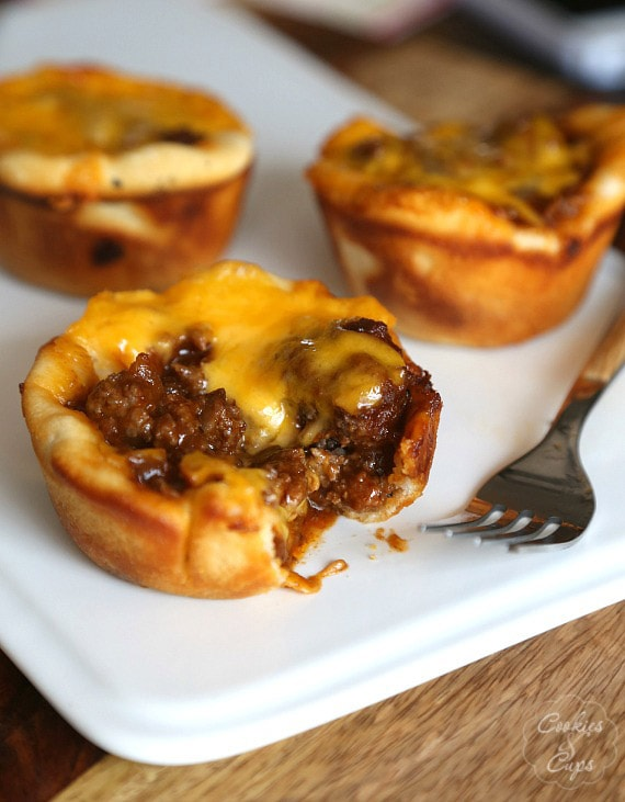 Close-up of BBQ Sloppy Joe Muffins on a plate with a bite removed