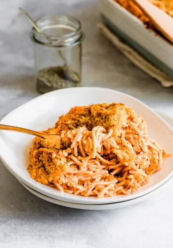 Plate of creamy spaghetti casserole.