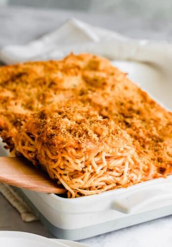Serving of chicken spaghetti casserole.