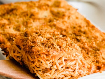 Serving of chicken spaghetti casserole.