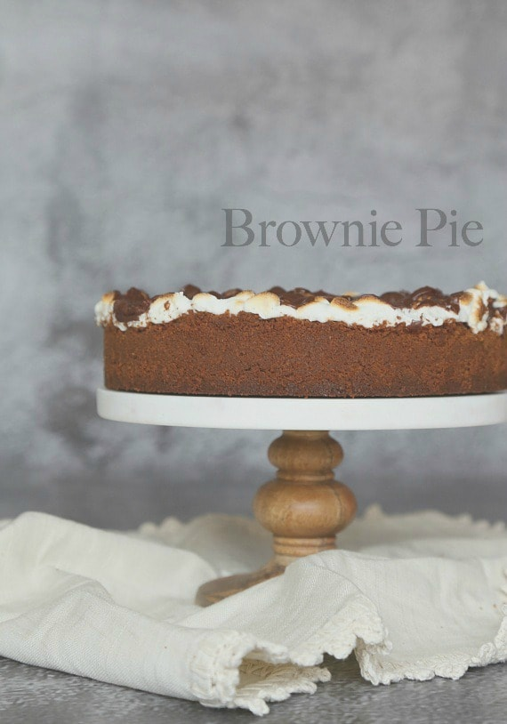 Brownie Pie...a delicious brownie filled pie on a graham cracker crust topped with toasted marshmallows and chocolate frosting!