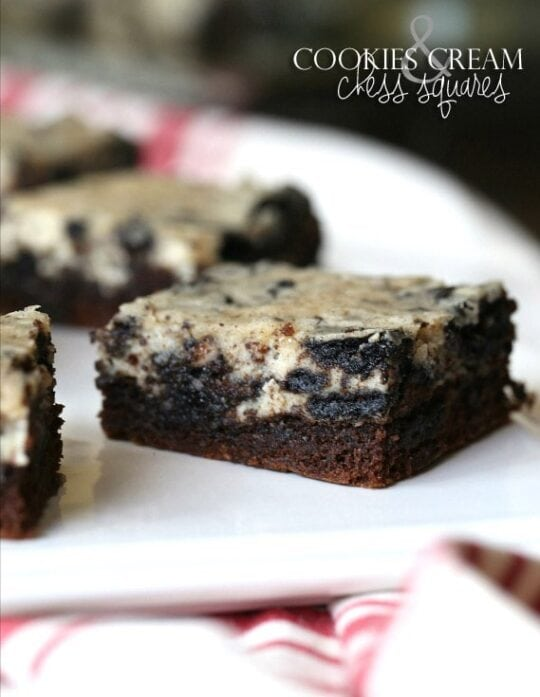 Cookies and Cream Chess Squares...simple bars that can be whipped up quickly and everyone will love!