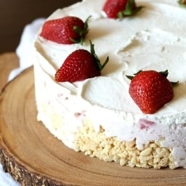 Rice Krispie Treat Ice Cream Pie | Easy Summer Strawberry ...