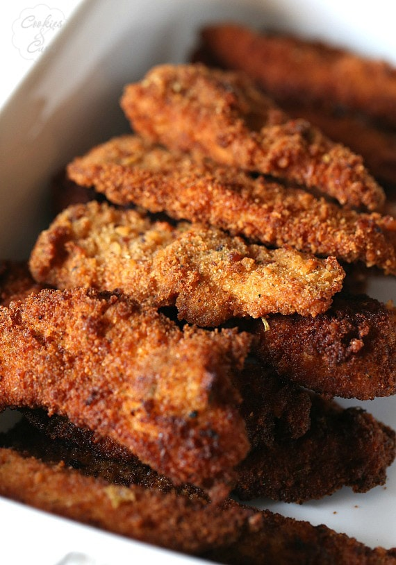 Chicken and Stuffing Tenders...chicken tenders coated in Stuffing crumbs and lightly fried to perfection! Two favorites in one bite!