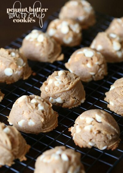 Peanut Butter White Chip Cookies...super SOFT peanut butter cookies LOADED with white chocolate!