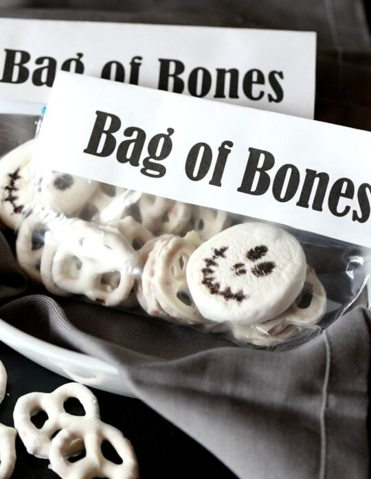 Bag Of Bones Halloween Snack MIx...SImple and cute snack mix made with white chocolate pretzels and a marshmallow!!