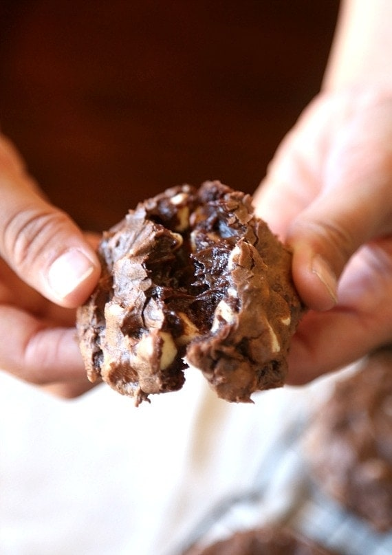 Cream Cheese Brownie Cookies!! SO rich and thick!