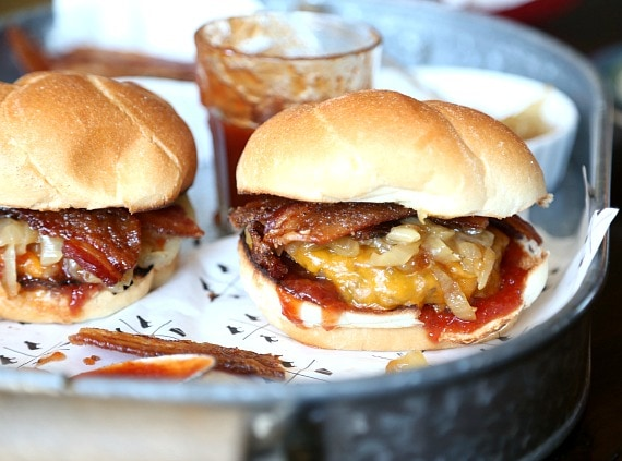 Candied Bacon Cheddar Maple Burger...so easy and everything can be done ahead of time!