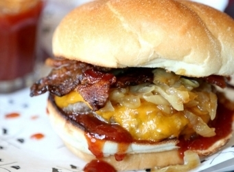 Candied Bacon Maple Burger.. one of the best burgers I've ever had!!