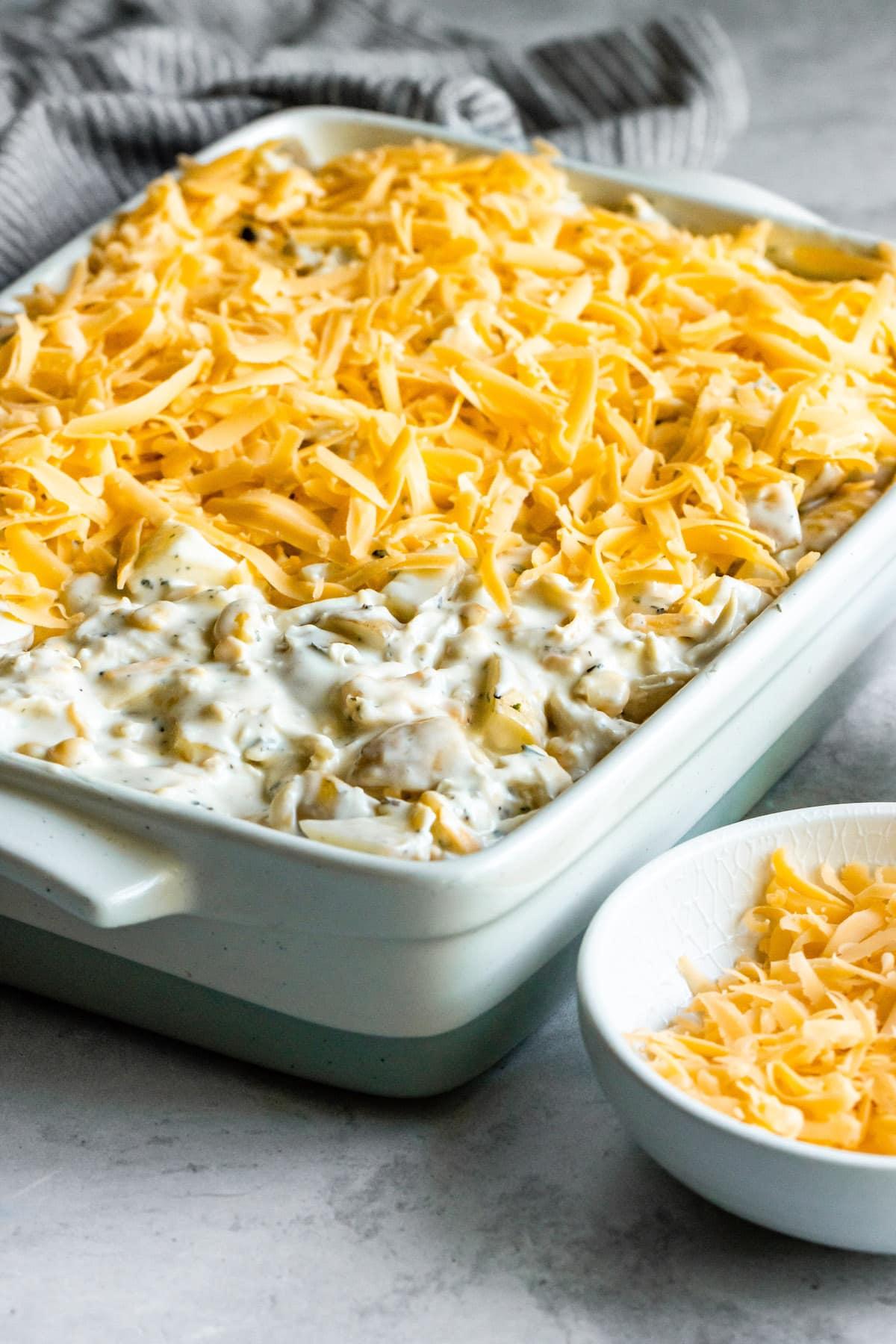 Cheesy hashbrown casserole with chicken.