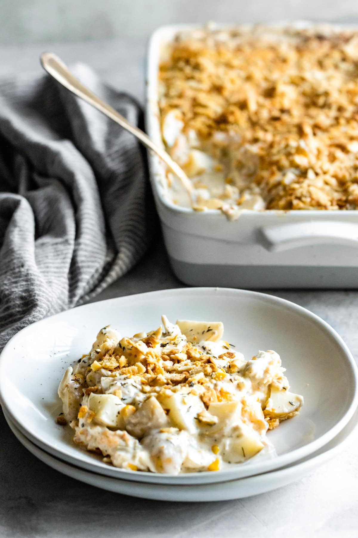 Plate of cheesy chicken casserole.