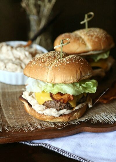 Caramelized Onion Dip Burger...a simple burger topped with a new verion of the classic Onion Soup Dip!