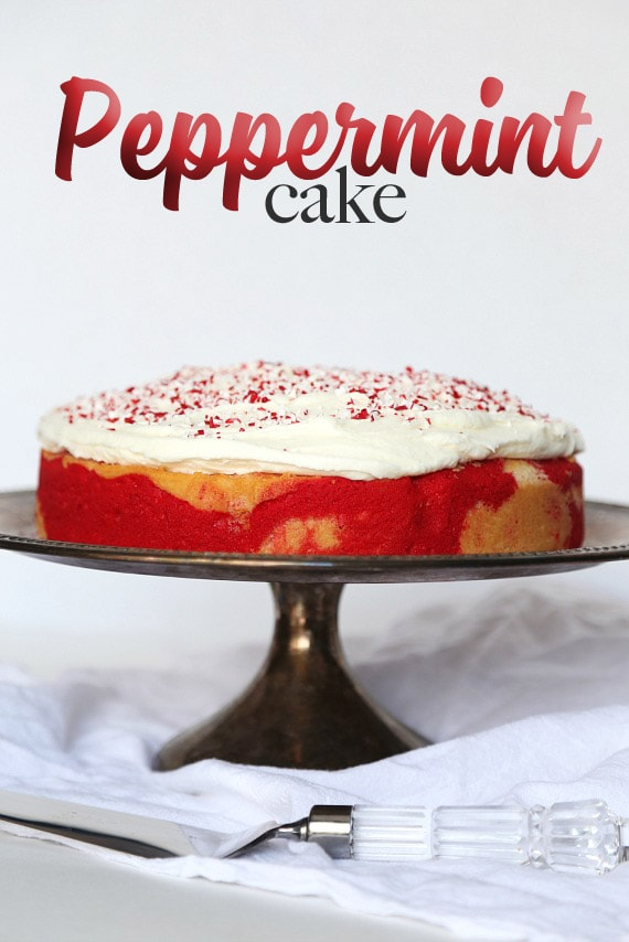 Peppermint Cake.. a fun vanilla swirl cake with mint frosting and crushed candy canes on top!ake