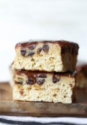 Cookie Dough Krispie Treats stacked