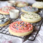 Cream Cheese Cut Out Sugar Cookies recipe with cream cheese frosting and sprinkles is the best!