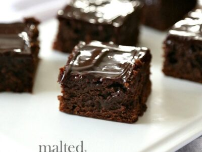 Malted Chocolate Brownies...OMG the best brownies I have ever had!! SUPER chewy and chocolatey!