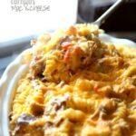 Bowl of carnitas mac and cheese