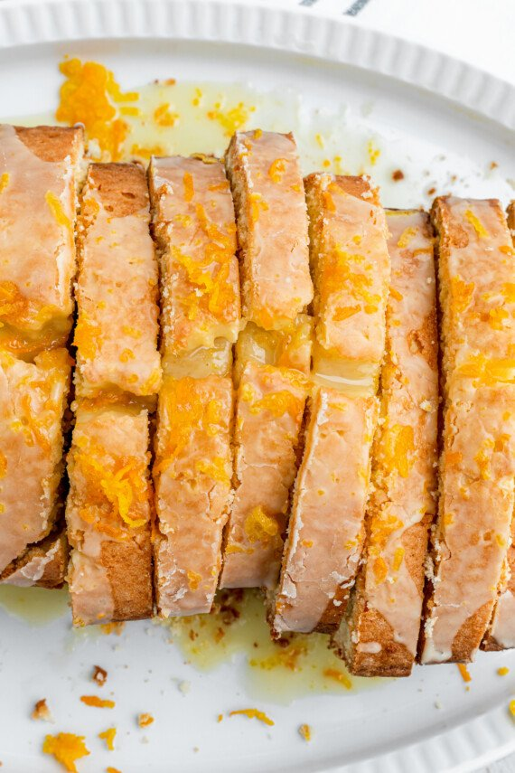Slices of orange pound cake.