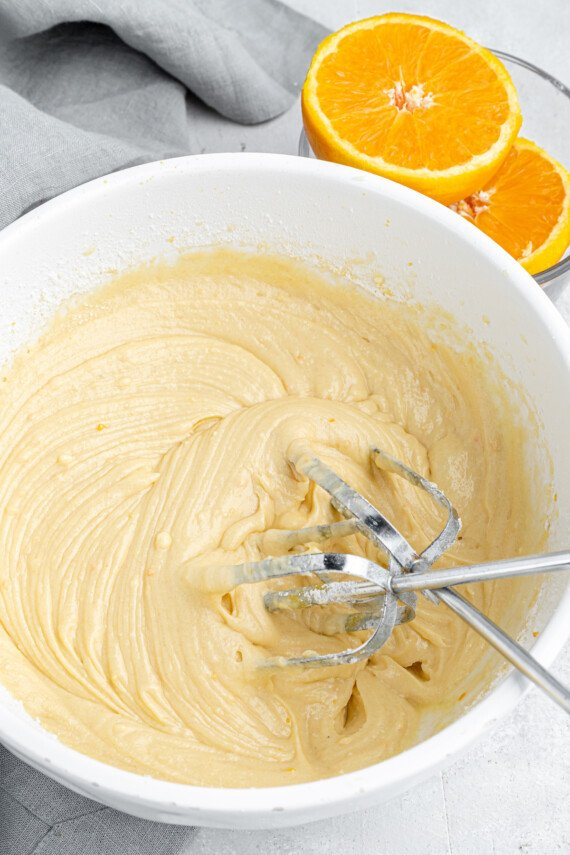 Cake batter in a mixing bowl.