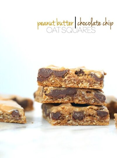 Peanut Butter/Chocolate Chip Oat Squares...super chewy, packed with peanut butter, loaded with chocolate chips and covered in a peanut butter glaze!