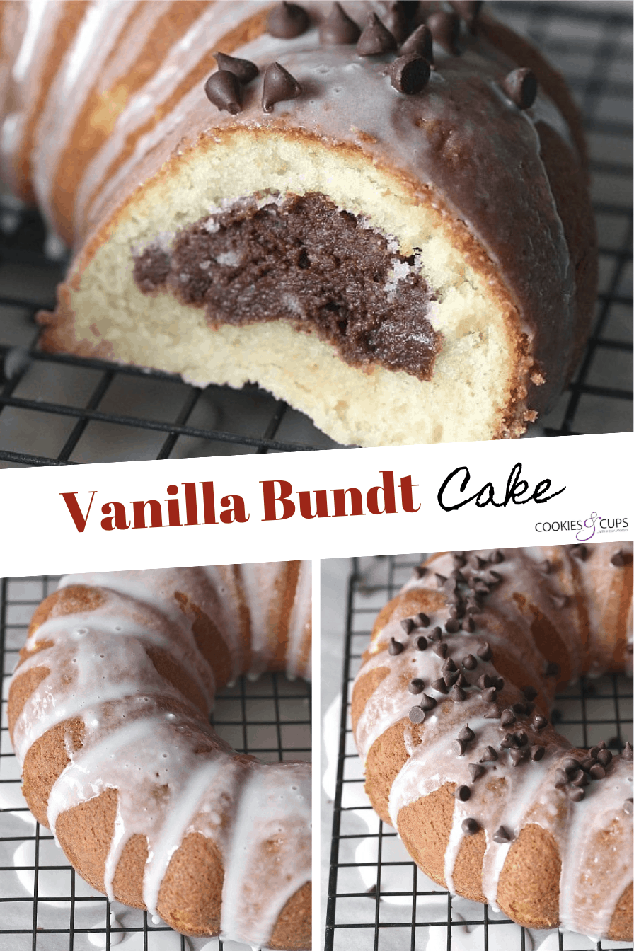 Pinterest Image for Fudge Filled Vanilla Bundt Cake