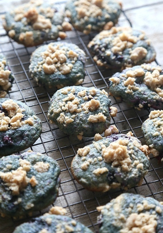 Blueberry Muffin Cookies! These cookies are so soft, loaded with blueberries and topped with a buttery streusel. It's the best part of the muffin!