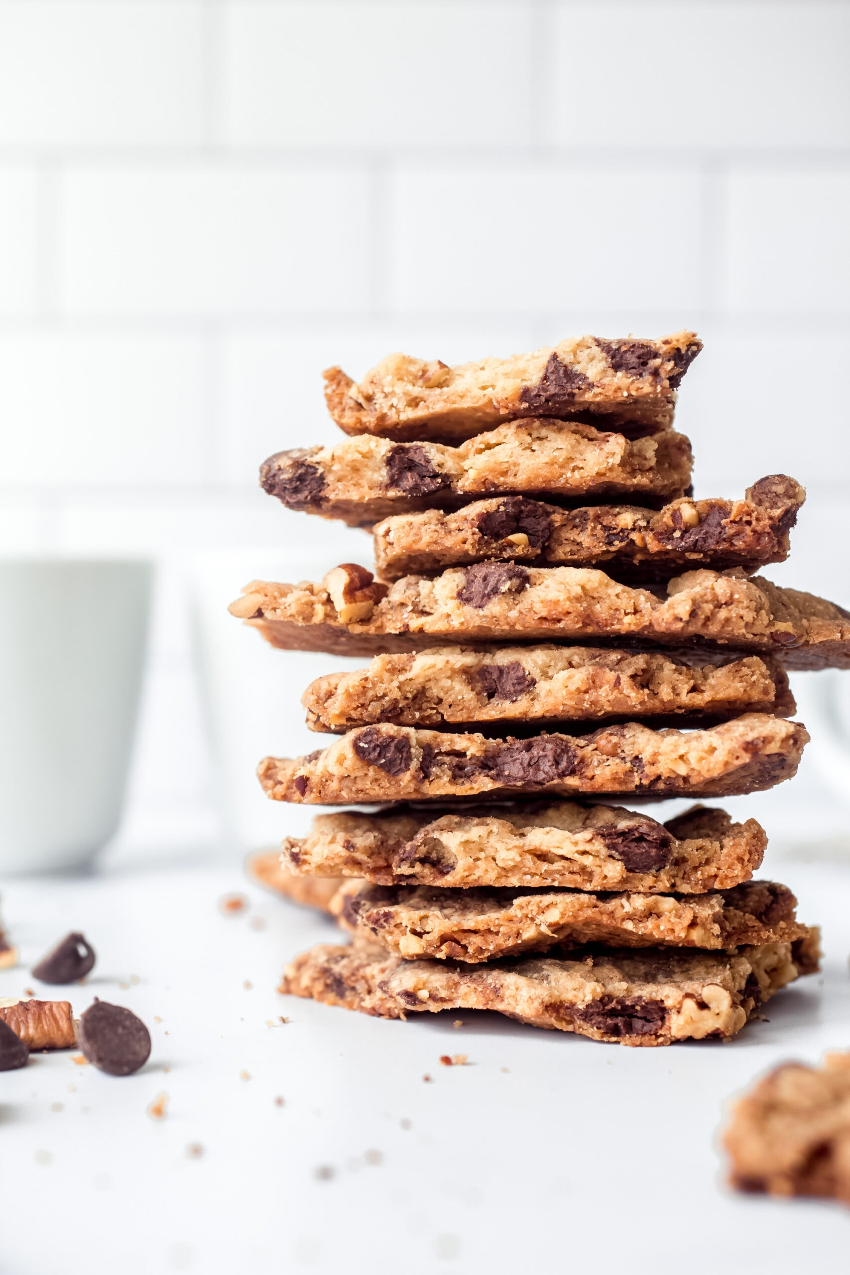 Chocolate Chip Cookie Brittle stacked