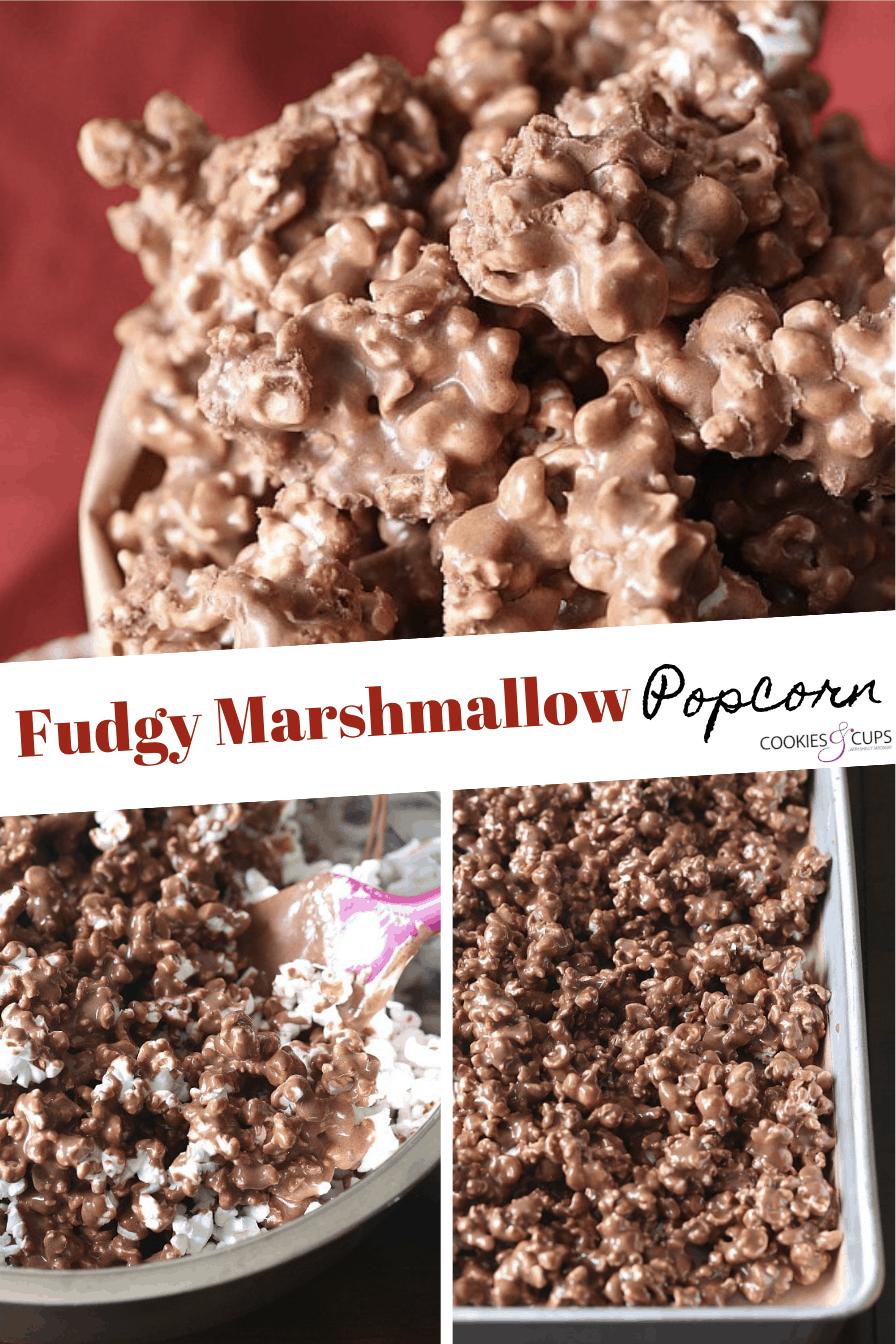 Pinterest Image of Fudgy Marshmallow Popcorn