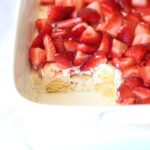 Company Strawberry Shortcake..this is a vintage recipe of my moms, and it's perfect for a crowd!! SO creamy and light and topped with sweet strawberries!