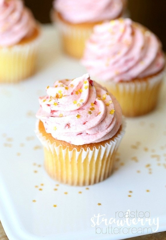 Roasted Strawberry Buttercream...super creamy, perfectly sweet frosting!