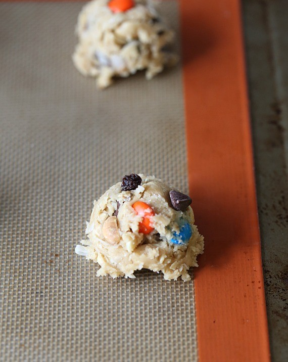 Coconut Oil Trail Mix Cookies...a thick delicious cookie that is crispy on the outside and soft on the inside packed with your favorite Trail Mix!