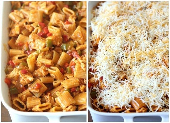 This easy Chicken Enchilada Pasta can be made in under 30 minutes if you use a Rotisserie Chicken!! It's loaded with flavor, spice and will feed a crowd!