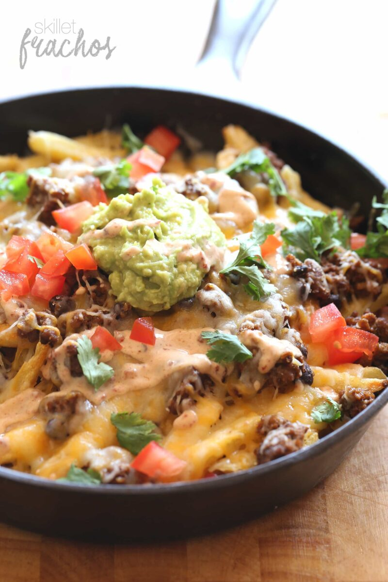 """These fun Skillet """"Frachos"""" are Nacho Fries...crispy French Fries topped with all your Nacho favorites!!"""