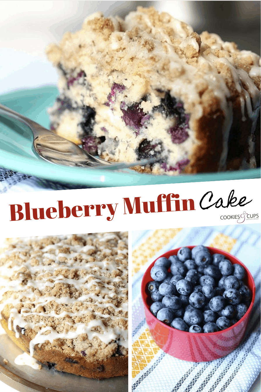 Pinterest Image for Blueberry Muffin Cake