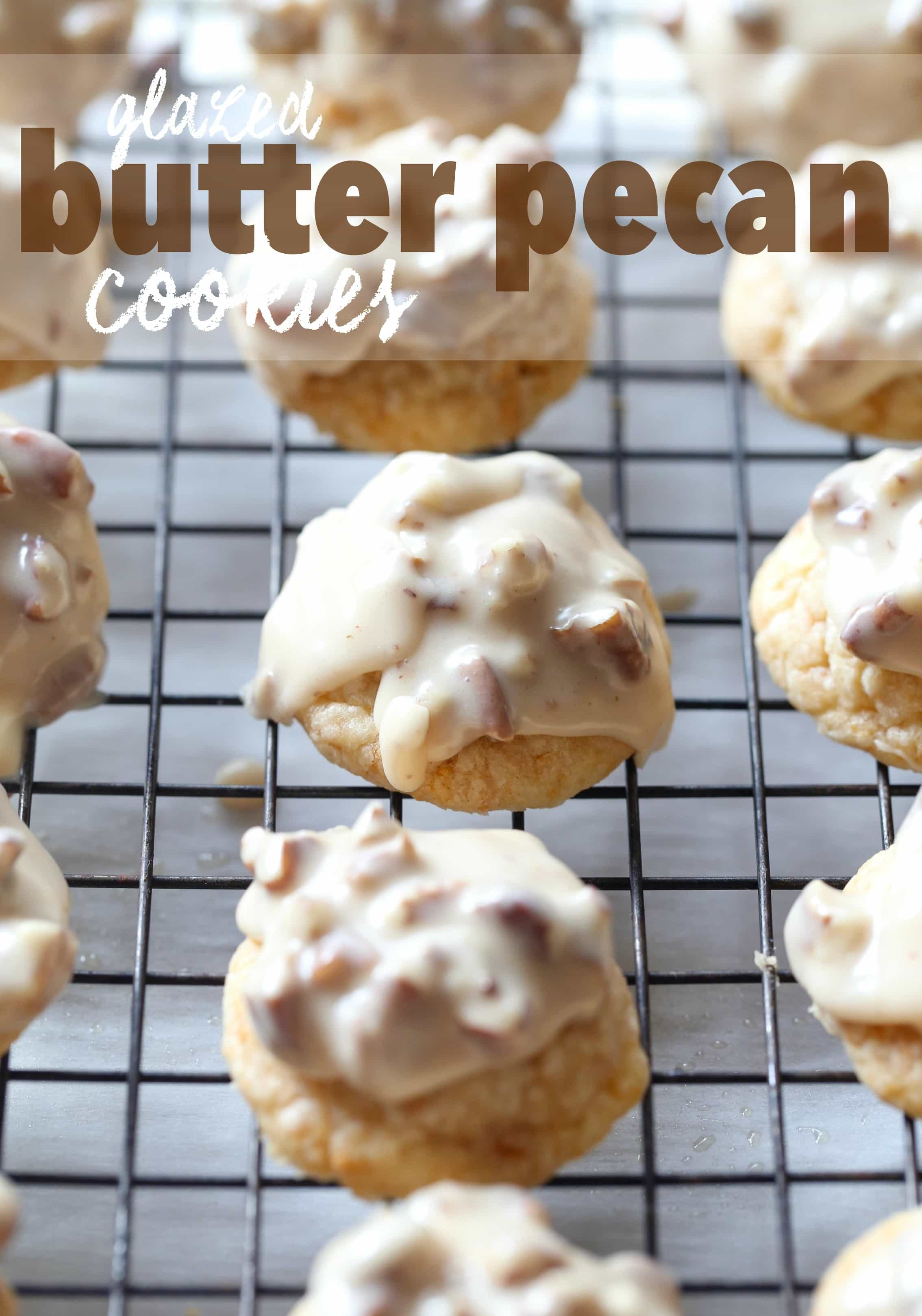 These Glazed Butter Pecan Cookies are a melty shortbread cookie with ...