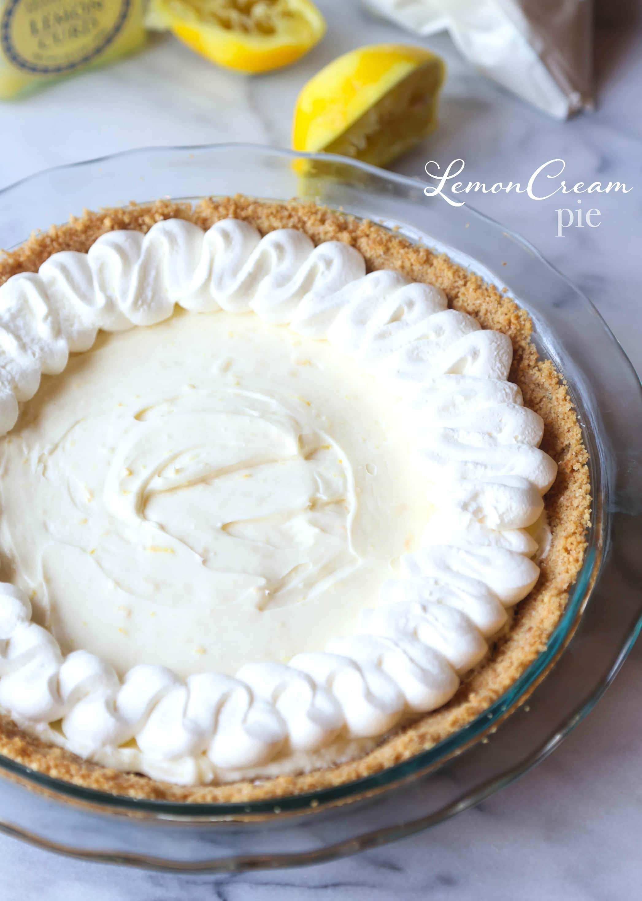 This Lemon Cream Pie with Lemon Whipped Cream is creamy, bright and ...