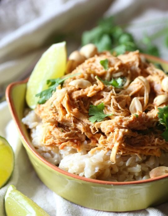 Slow Cooker Thai-Style Chicken! Super simple and packed with flavor!