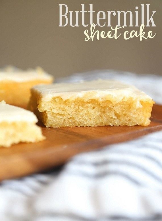 This Buttermilk Sheet cake is insanely tender and buttery, plus is a breeze to make. Your friends will be begging you for the recipe!
